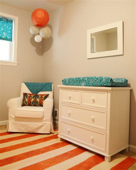 orange turquoise and white nursery for little m project