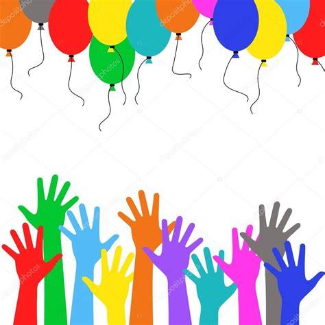 las imagenes vectoriales manejan decoraci 243 n de fiesta personas de mano multicolor que