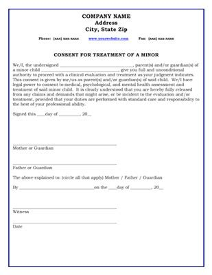 letter consent minor treatment consent for treatment of a minor form