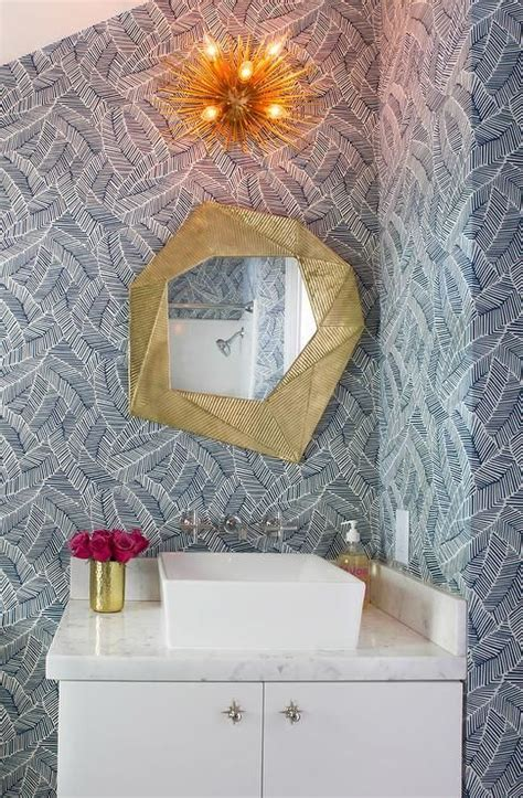 schumacher abstract leaf wallpaper contemporary bathroom