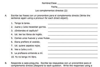 contesta estas preguntas en ingles book of life spanish direct object pronouns practice los complementos