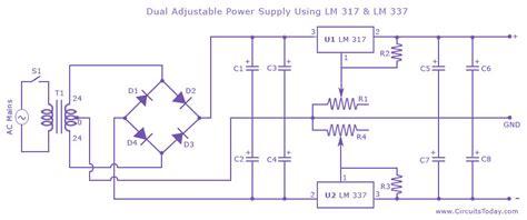 dual power supply circuit diagram dual adjustable variable power supply circuit using lm 317