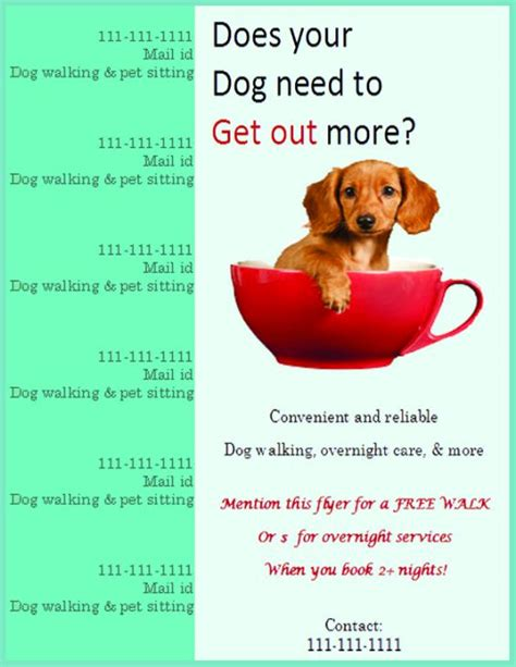 25 Dog Walking Flyers For Small Dog Sitting Businesses Attractive Designs Demplates Walking Flyer Template Free