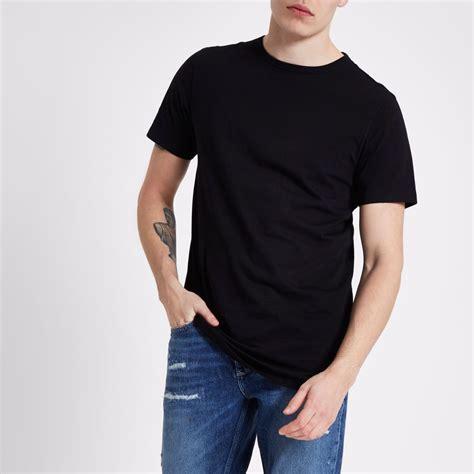 Tshirt Kaos 2 1 black curved hem longline t shirt t shirts t shirts
