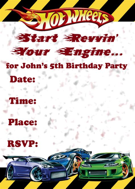 printable birthday cards hot wheels hot wheels invitation template printable in 83 hot