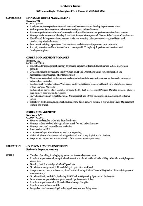 Resume Order by Order Management Resume Sles Velvet