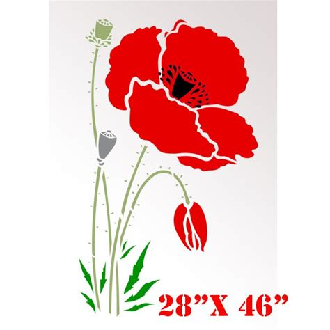 printable poppy stencils large printable stencils for walls stencil boss poppy