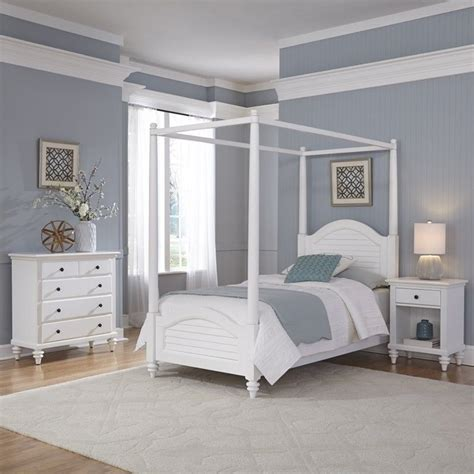 piece wood twin canopy bedroom set  white