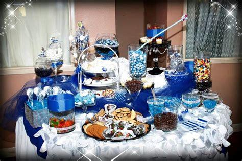 royal blue candy buffet party invitations ideas