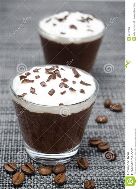 Chocolate Mousse Coffee Bean two glasses of chocolate and coffee mousse with