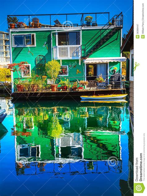 Pacific Northwest Design green houseboat victoria canada royalty free stock
