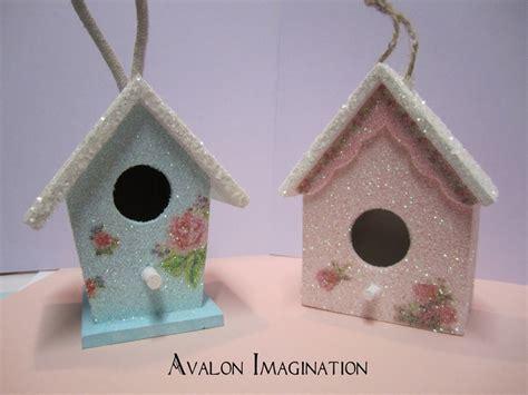 glitter birdhouse shabby chic home decor accessory