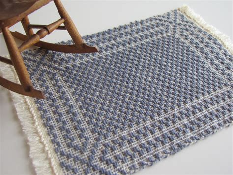 colonial blue miniature dollhouse handwoven floor rug 1 12 scale doll house carpet model home