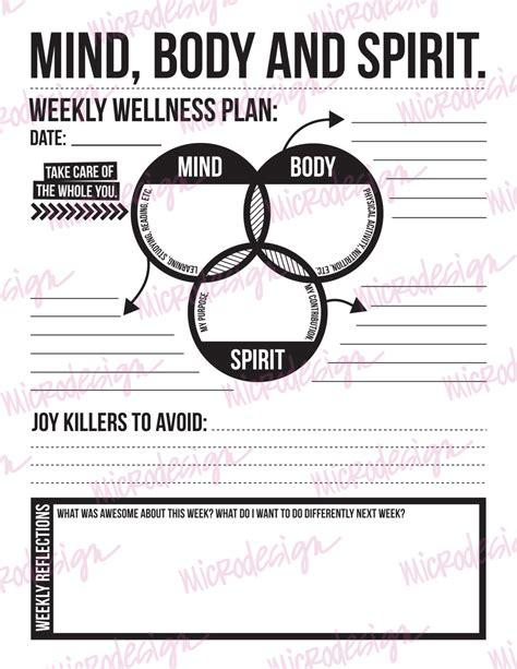 mind spirit weekly wellness plan downloadable goal