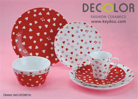 heart pattern dinnerware china 16 pcs dinner set with heart pattern de0801b