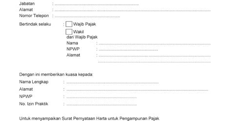 pajeg lempung contoh surat kuasa pengakuan kepemilikan harta