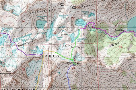 enchantments trail map mcclellan peak map photos diagrams topos