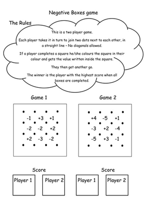 printable negative numbers games negative number game boxes starter plenary by labrown20