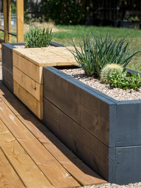 planter seat bench make a modern planter and bench combo hgtv