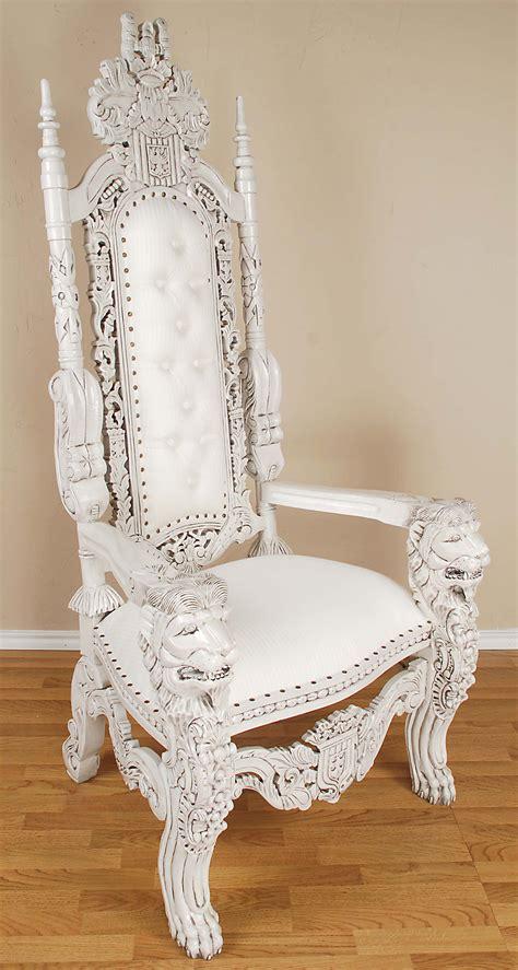 white throne chair king lion throne chair white