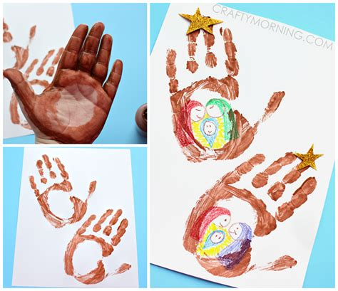 handprint stable jesus in a manger kids craft crafty