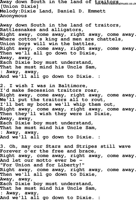 An American Song American Song Lyrics For Away South In The Land Of Traitors With Pdf