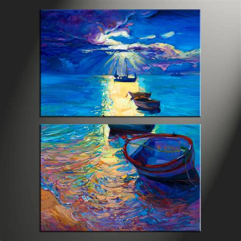boat canvas art 2 piece blue ocean oil paintings canvas photography