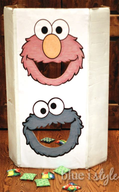 Entertaining With Style Diy Sesame Street Bean Bag Toss Game Blue I Style Creating An Bean Bag Toss Template
