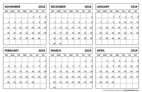 month calendar november april november
