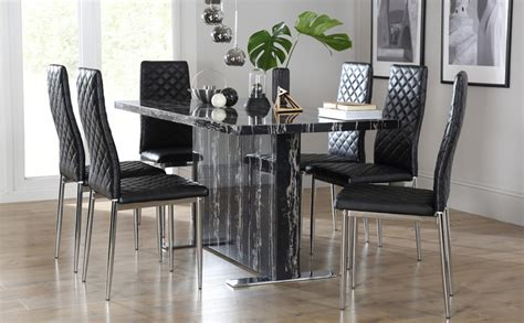 Black Marble Dining Table And Chairs with Magnus Black Marble Dining Table With 6 Renzo Black Chairs Chrome Legs Only 163 549 99