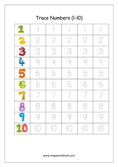 printable writing numbers 1 10 cool free tracing numbers 1 10 worksheets pictures