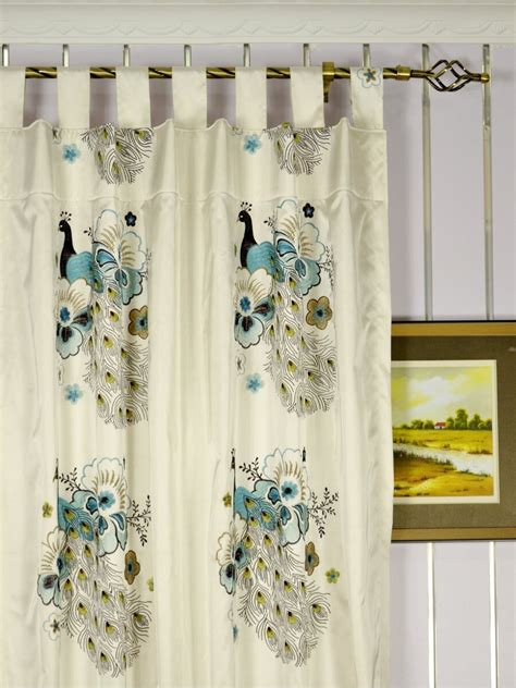 peacock window curtains silver beach embroidered peacocks faux silk custom made