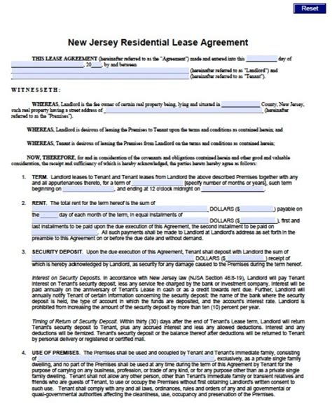 Printable Rental Agreement Nj | blank lease agreement nj templates resume exles