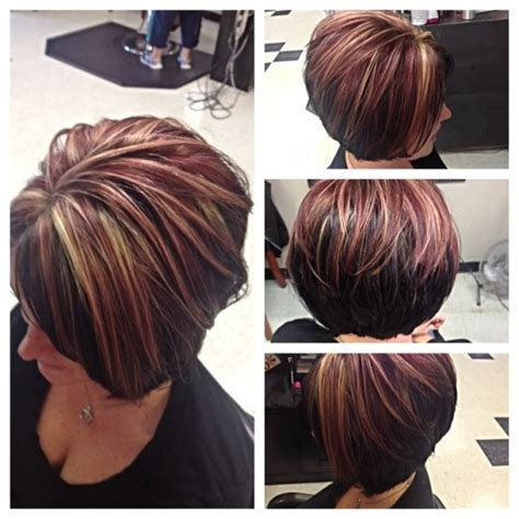 red hair highlights and lowlights asymmetrical bob by courtney curtis and highlights