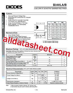 datasheet de la diode b340la datasheet pdf diodes incorporated