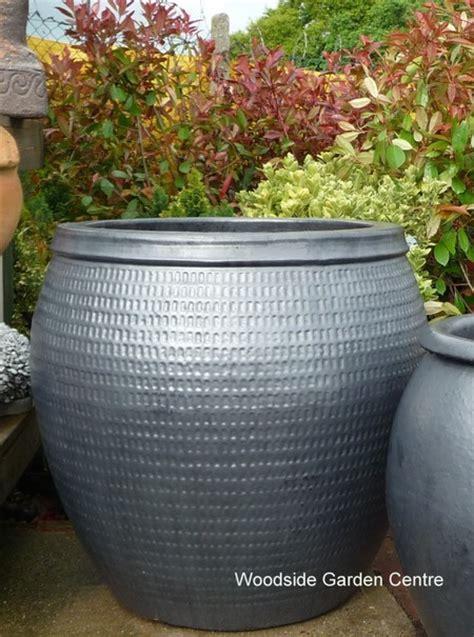 large glazed pot gun metal collar planter woodside
