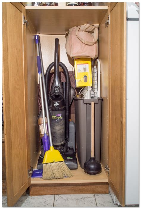 Vacuum Cleaner Storage Cabinet Closet Cabinet With Top Shelf For Broom Vacuum Cleaner And
