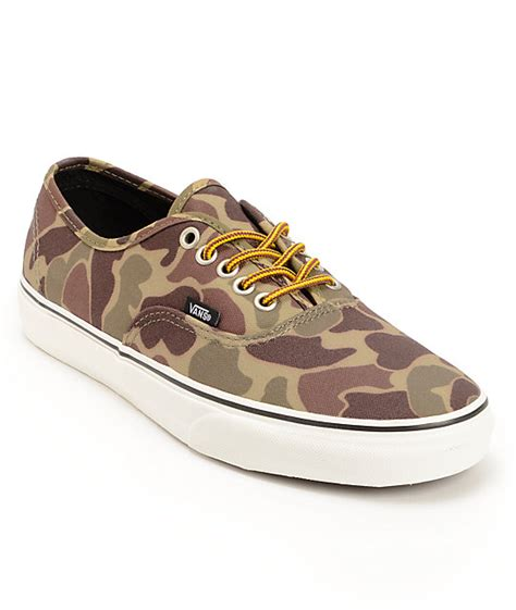 vans authentic camo waxed canvas skate shoes mens at
