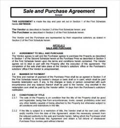 Agreement Of Purchase And Sale Template purchase and sale agreement 9 free samples examples