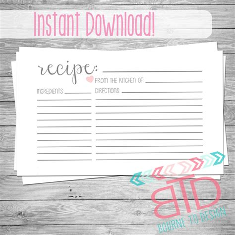 5x7 recipe card template for word recipe card printable recipe card instant kitchen