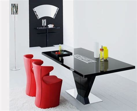 red chair with glass modern dining tables in black