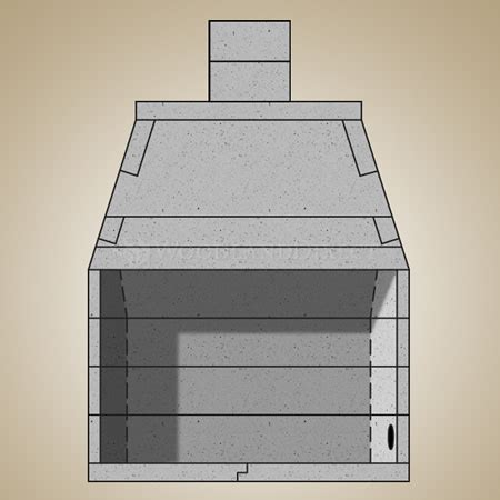 49 quot pre cast masonry firebox kit with 24 quot chimney