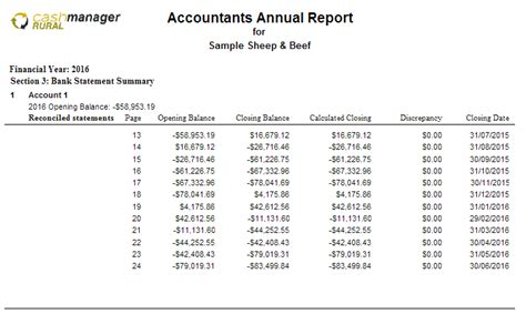 section 3 summary report accountants annual report section 3 bank statement
