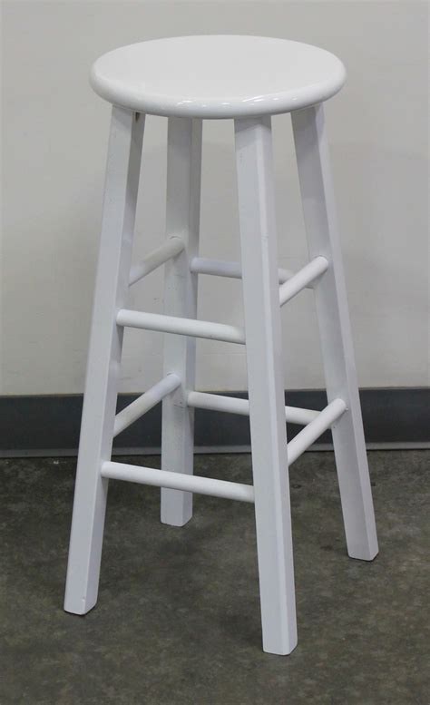 White Stool by White Wood Bar Stool Town Country Event Rentals