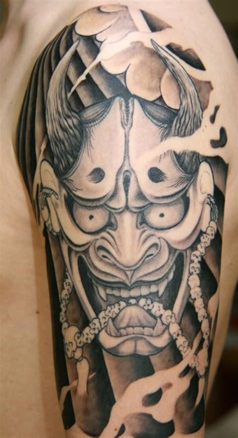 half hannya mask tattoo red ink hannya mask tattoo on half sleeve