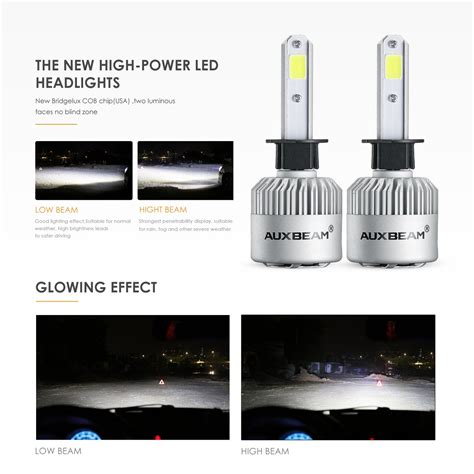 Lu Mobil Led H4 2 Cob 2pcs galleon auxbeam led headlights f s2 series h1 p145s headlight bulbs bridgelux cob led h1 p145s