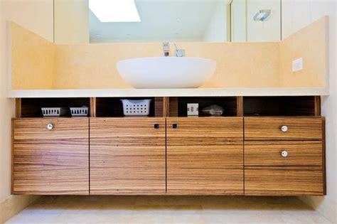 Master Bathroom Retreat   Zebra Wood Custom Cabinets