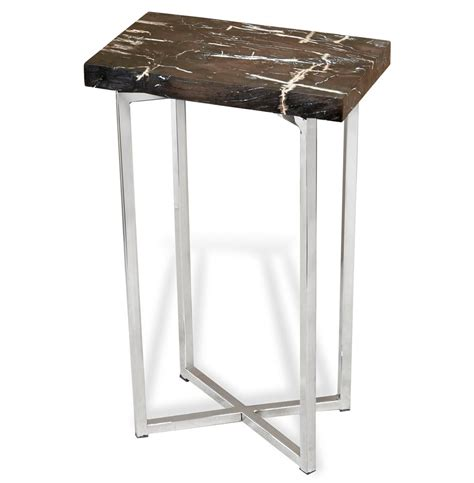 Modern Side Table Argo Modern Rustic Petrified Wood Rectangular Side Table Kathy Kuo Home