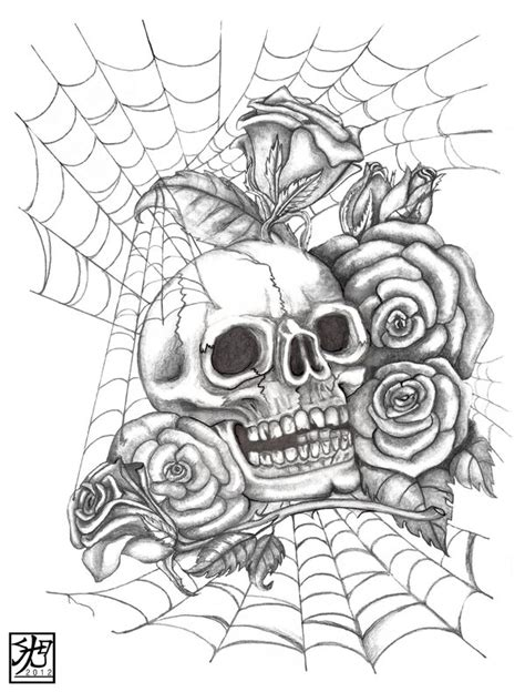 guns and roses coloring page skull n roses by everiris on deviantart