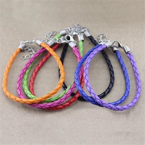 DIY Candy Color PU Leather Cord Bracelet Handmade Jewelry   US$1.98 sold out